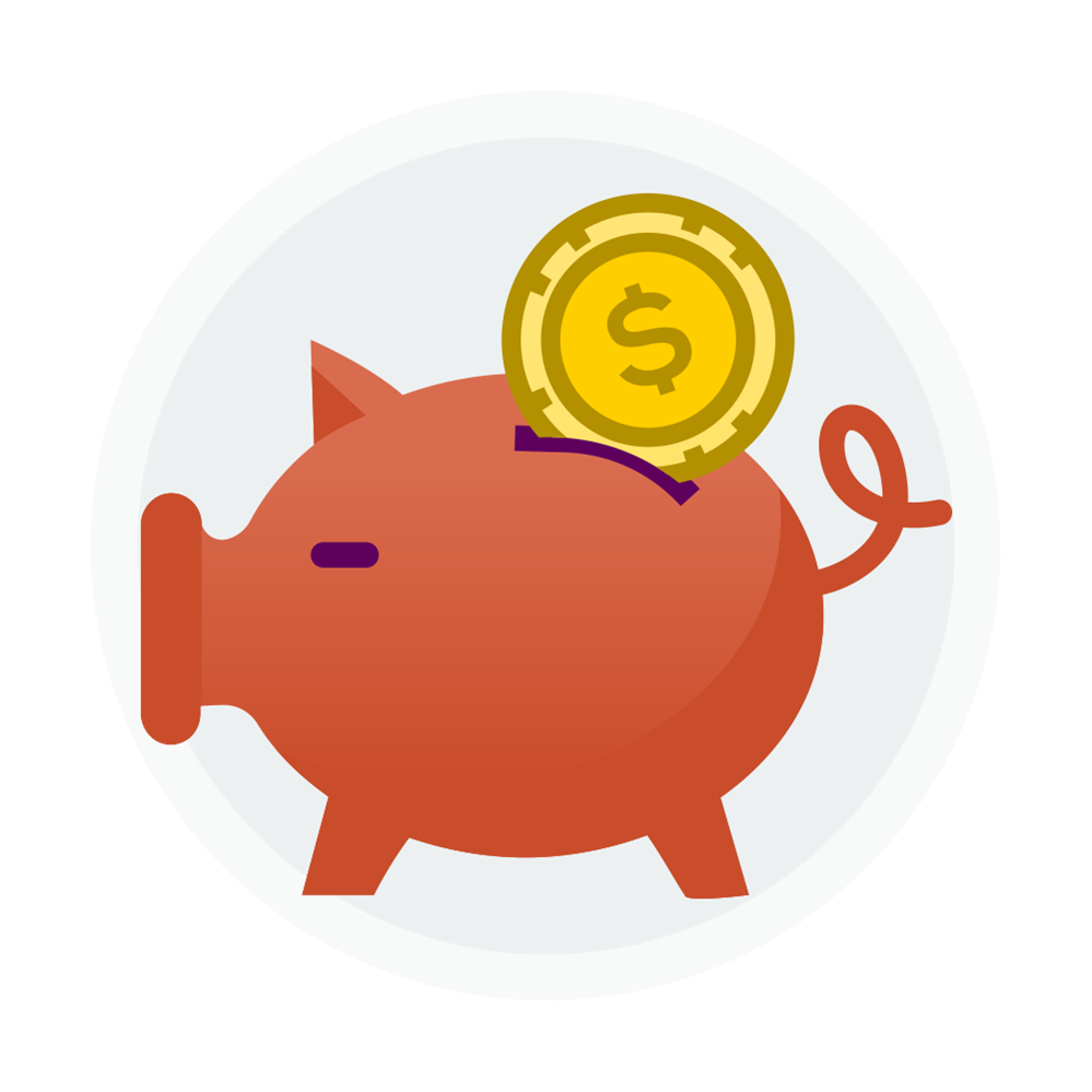 Icon of a piggy bank with a coin going into the slot