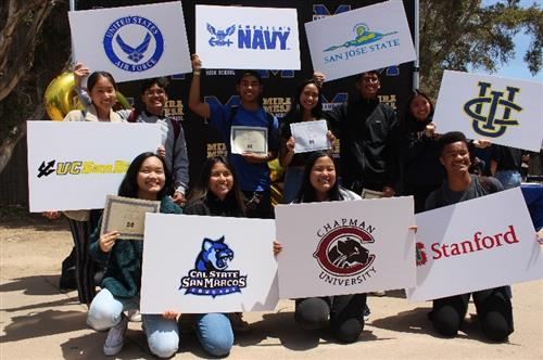 students holding college signs